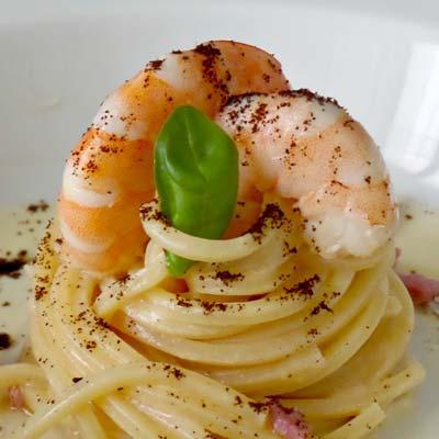 Ricetta Spaghetto Quadrato La Molisana alla carbonara di gamberi - La Molisana