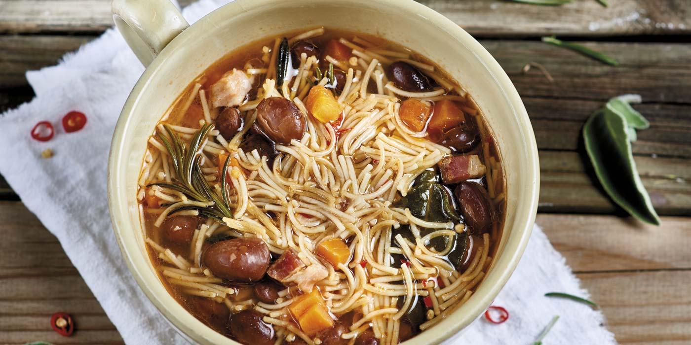Ricette Capellini spezzati integrali con fagioli erbe aromatiche e pancetta - La Molisana
