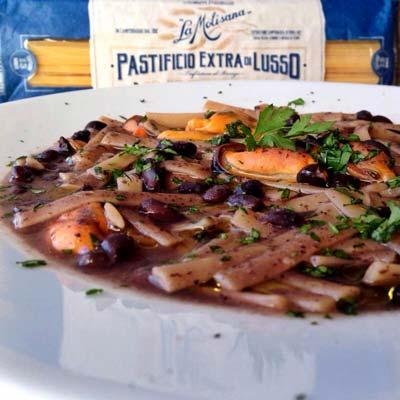 Ricetta Fettuccelle fagioli neri e cozze - La Molisana