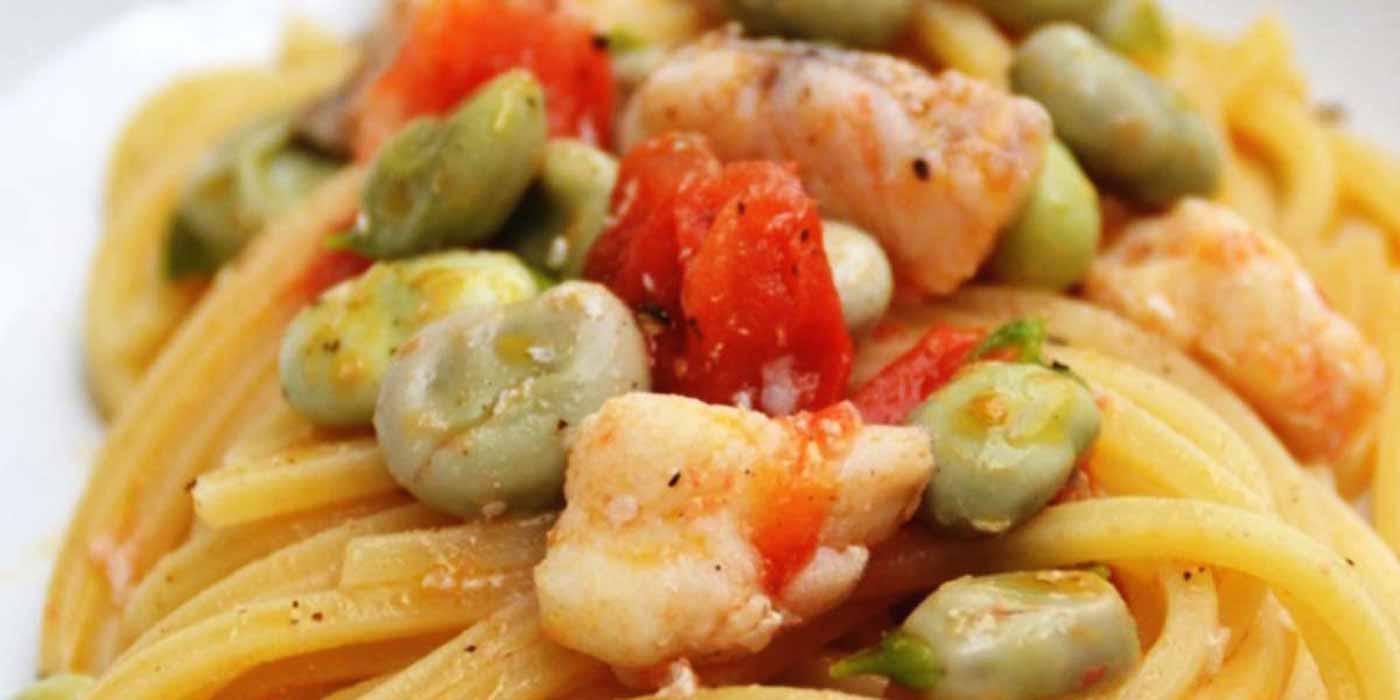 Ricetta Spaghetto Quadrato con rana pescatrice, fave novelle e pomodorini - La Molisana