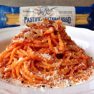 Ricetta Spaghetto Quadrato all'amatriciana - La Molisana
