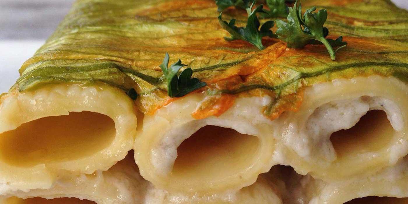 Ricetta Sformato di rigatoni con fiori di zucca e alici - La Molisana
