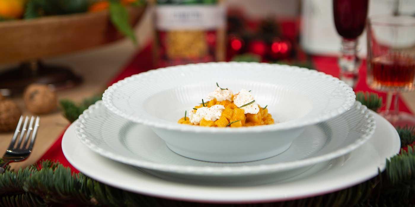 Ricetta Cubetti in crema di zucca con paprika affumicata, caprino e rosmarino fritto - La Molisana