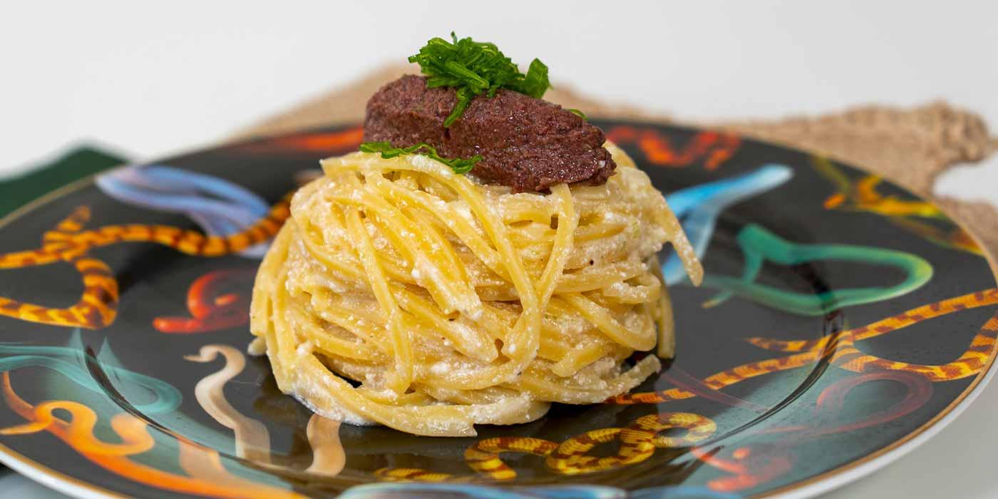Ricetta Trighetto con fondente di cipollotti e tapenade - La Molisana