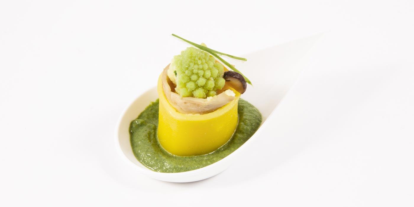 Ricetta Finger Food con Paccheri La Molisana, cipollotto fresco, funghi e cimone romanesco