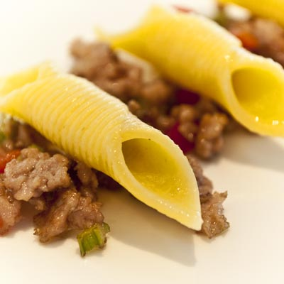 Ricetta Garganelli con macinato di tacchino e pancetta