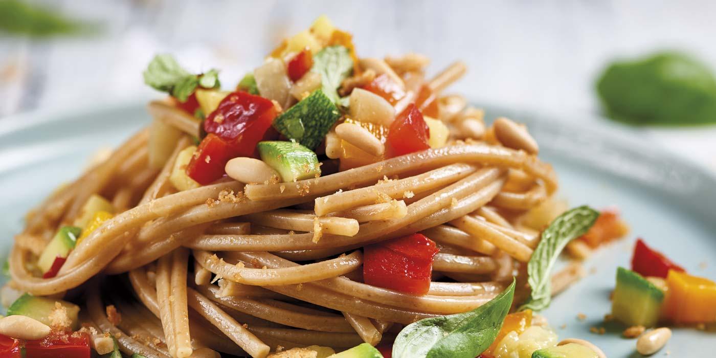 Ricetta Spaghetto Quadrato La Molisana con caponata di verdure estive